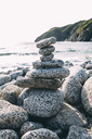 Russia, Far East, Khasanskiy, Japanese sea, Grotovaya bay, stack of pebbles on stony beach - VPIF00290