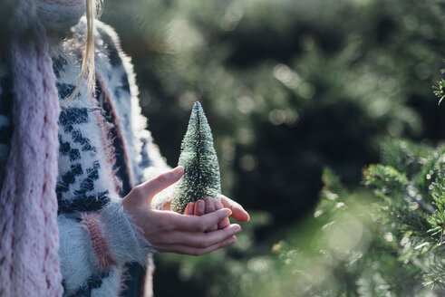 Little girl holding a toy Christmas tree, close up - MJF02219