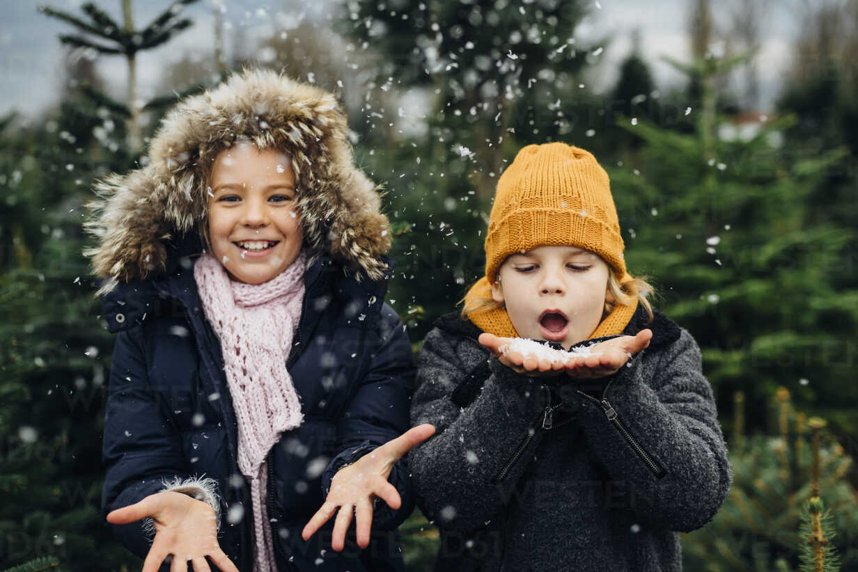 Brother and sister having fun with snow before Christmas - MJF02234 - Jana Mänz/Westend61