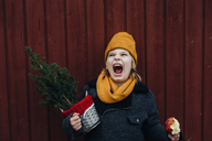 Laughing boy standing in front of wooden wall with potted Chritsmas tree and candied apple - MJF02252