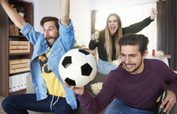 Excited football fans watching Tv and cheering - ABIF00069