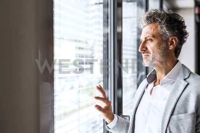 Portrait of confident mature businessman loooking out of window - HAPF02554