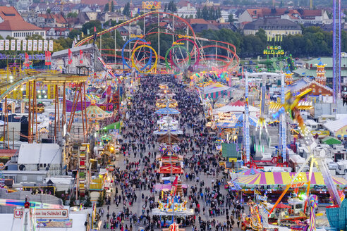 Germany, Bavaria, Munich, View of Oktoberfest fair on Theresienwiese in the evening - SIEF07653