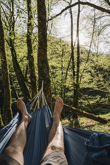 Young man lying in hammock - GUSF00272