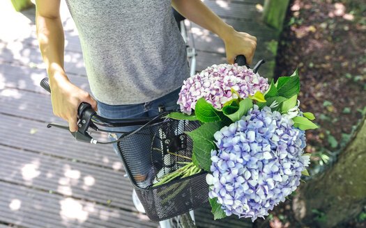 Woman with bicycle with a bouquet of hydrangeas in the basket - DAPF00836