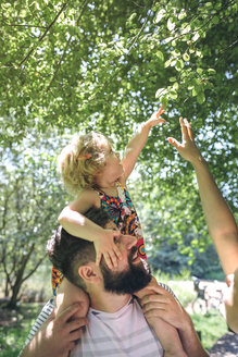 Little girl on her father's shoulders stretching to touch a branch - DAPF00842
