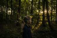 Girl in a forest at sunset - MOEF00576
