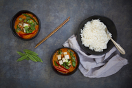 Two bowls of red Thai Curry with snow peas, carrots, bell pepper, spring onions and smoked tofu - LVF06528