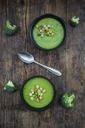 Broccoli soup in bowl, croutons - LVF06540