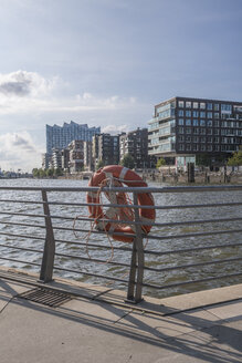 Germany, Hamburg, Grasbrook Harbour, lifesaver in the foreground - PVCF01249