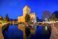Italy, Lombardy, Lake Garda, Riva del Garda, Rocca di Riva, blue hour - PUF01001