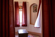 India, Rajasthan, Alwar, Heritage Hotel Ram Bihari Palace, curtains, window - NDF00727