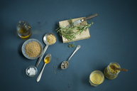Homemade mustard, sorts, spoons, various ingredients - ASF06132
