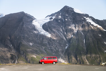Austria, Salzburg State, VW Bus parked at Grossglockner High Alpine Road - STCF00363