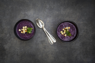 Bowl of red cabbage soup garnished with croutons - LVF06567