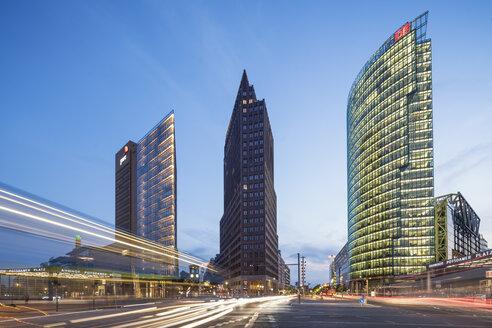 Germany, Berlin, Potsdamer Platz at blue hour - JHEF00041