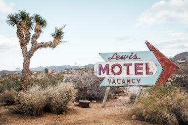 USA, California, Joshua Tree, old motel sign - WVF00850