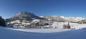 Austria, Styria, Salzkammergut, Steirisches Salzkammergut, Hinterberg Valley, Tauplitz, View to Ski Region Tauplitzalm - WWF04003