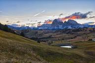 Italy, South Tyrol, Seiser Alm, Langkofel and Plattkofel at sunrise - LOMF00674