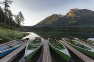 Germany, Bavaria, Berchtesgaden Alps, Lake Hintersee, rowing boats in the morning - RPSF00071
