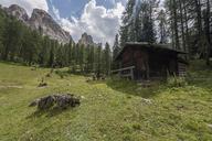 Italy, Braies Dolomites, Croda da Lago, Cortina d'Ampezzo, wooden hut - RPSF00083