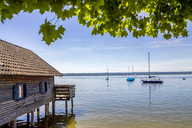 Germany, Bavaria, Upper Bavaria, near Herrsching, Ammersee lake, boathouse - PUF01078