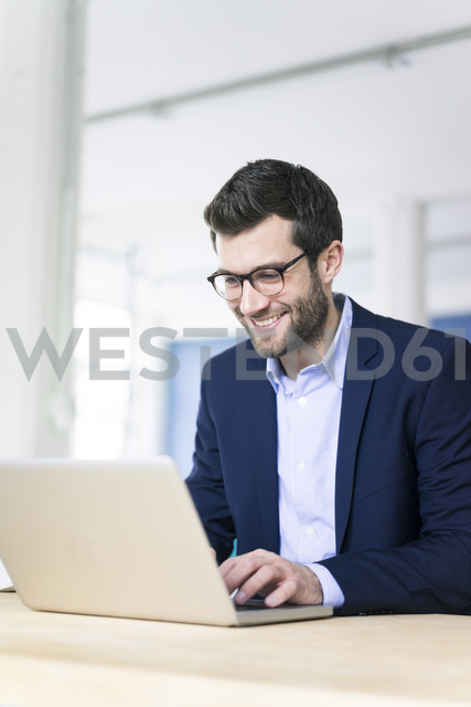 Smiling businessman using laptop on desk in office - MOEF00664
