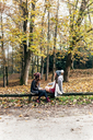 Two women relaxing in an autumnal forest - MGOF03697