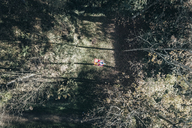Aerial view of two women on blanket in an autumnal forest glade - MGOF03718