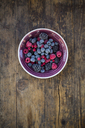 Bowl of deep frozen red currents, rapsberries and blackberries - LVF06593
