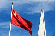 USA, California, San Francisco, Chinatown, Flag of China, Transamerica Pyramid - WVF00883