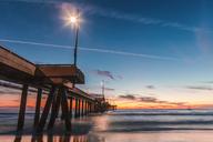 USA, California, Los Angeles, Venice Beach, Venice Beach Pier at sunset - WVF00892