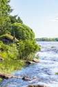 Finland, lapland, Torne river, border river, hut, View from Finland to Sweden - CSTF01561