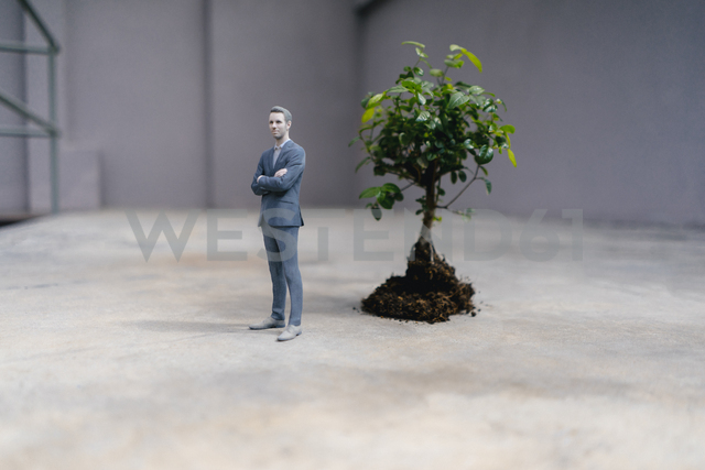 Businessman figurine standing next to a little tree - FLAF00041