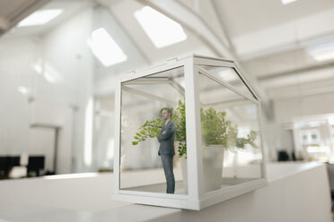 Businessman figurine standing in glasshouse with plant - FLAF00101
