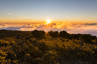 Reunion, Reunion National Park, Maido viewpoint, View from volcano Maido to sea of clouds and sunset - FOF09666