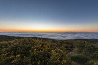 Reunion, Reunion National Park, Maido viewpoint, View from volcano Maido to Cirque de Mafate, sea of clouds and sunset - FOF09669