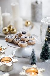 Christmas Cookies with jam filling on cake stand - SBDF03439