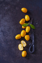 Sliced and whole kumquats, leaves and old knife on rusty ground - CSF28697