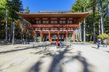 Japan, Koya-san, people at temple building - THAF02079