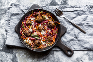Vegetable balls with Zoodles, carrot  and beetroot spaghetti - SARF03471