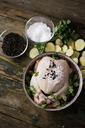 Uncooked chicken with parsley and potatoes in a saucepan - GIOF03734
