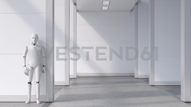 Robot standing in empty room, waiting - AHUF00458 - Anna Huber/Westend61
