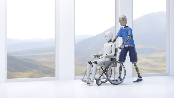 Robot pushing patient in a wheel chair - AHUF00464