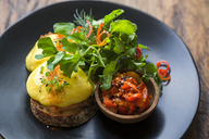 Bread gratinated with cheese with salad and vegetables on plate - SBOF01203