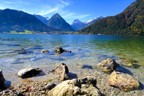 Austria, Tyrol, View to Achensee with Pertisau and Karwendel - LBF01731