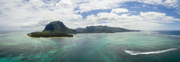 Mauritius, Southwest Coast, view to Indian Ocean, Le Morne with Le Morne Brabant, natural phenomenon, underwater waterfall, aerial view - FOF09700