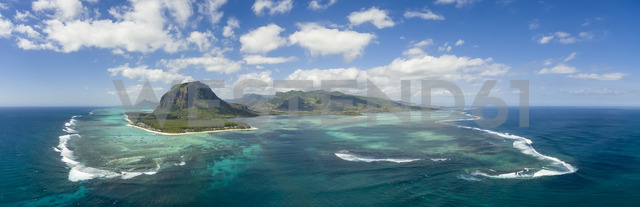 Mauritius, Southwest Coast, view to Indian Ocean, Le Morne with Le Morne Brabant, natural phenomenon, underwater waterfall, aerial view - FOF09703