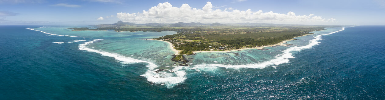 Mauritius, East Coast, Indian Ocean, Panorama of Trou d'Eau Douce, Aerial view - FOF09712