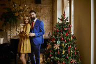 Portrait of elegant couple with drinks at Christmas tree - ZEDF01149